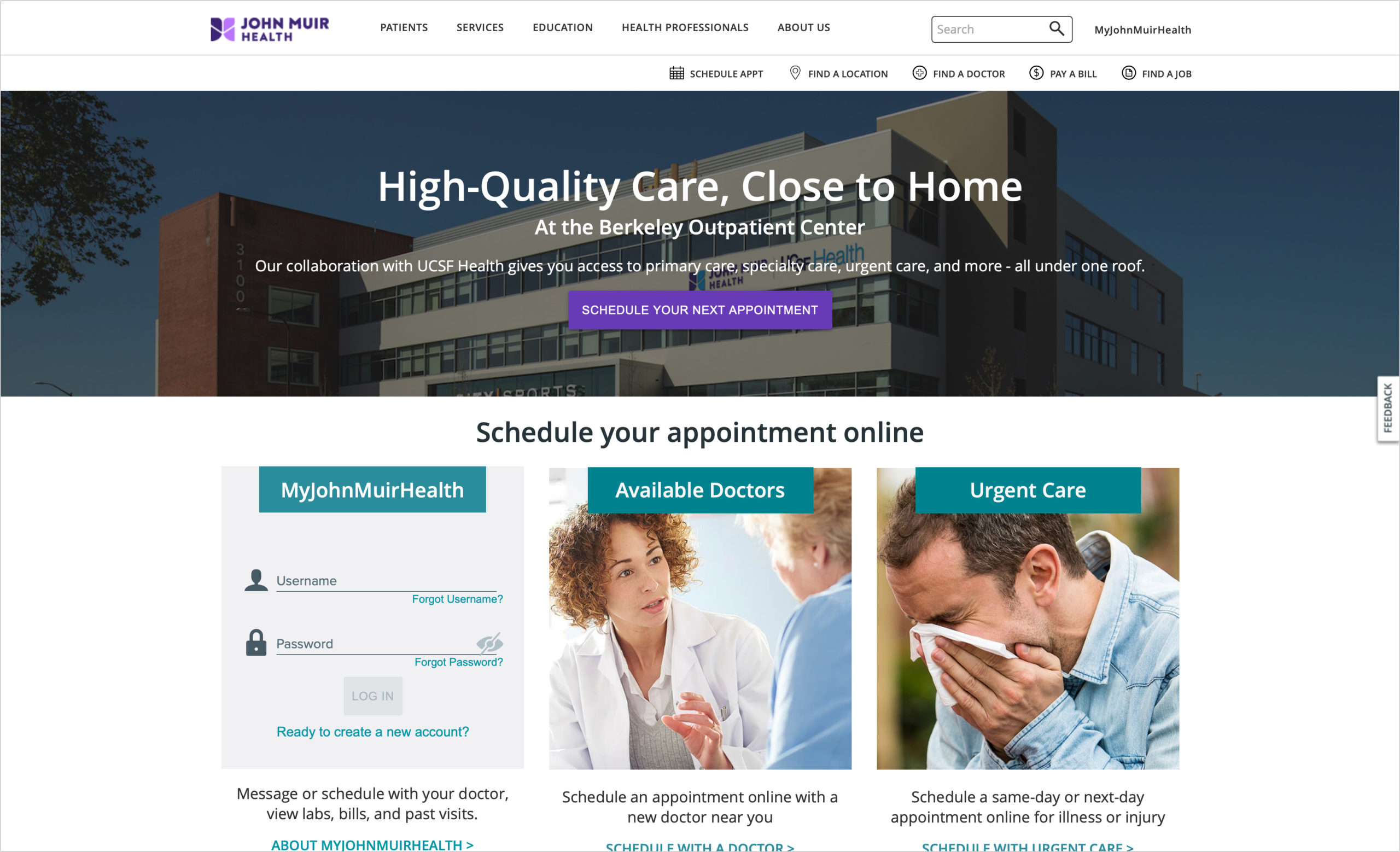 Homepage of John Muir Health