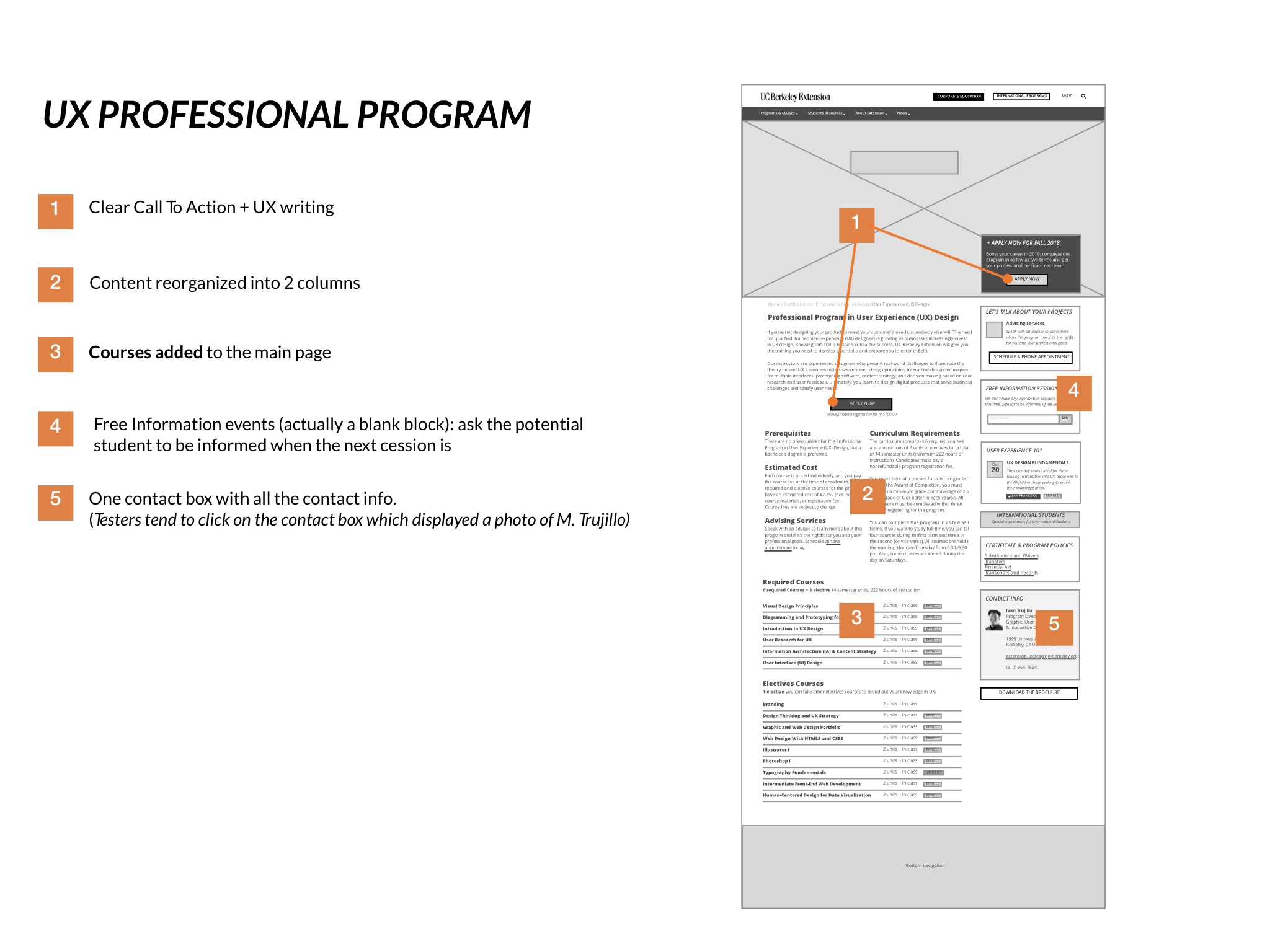 First version of prototype of the UX professional program page