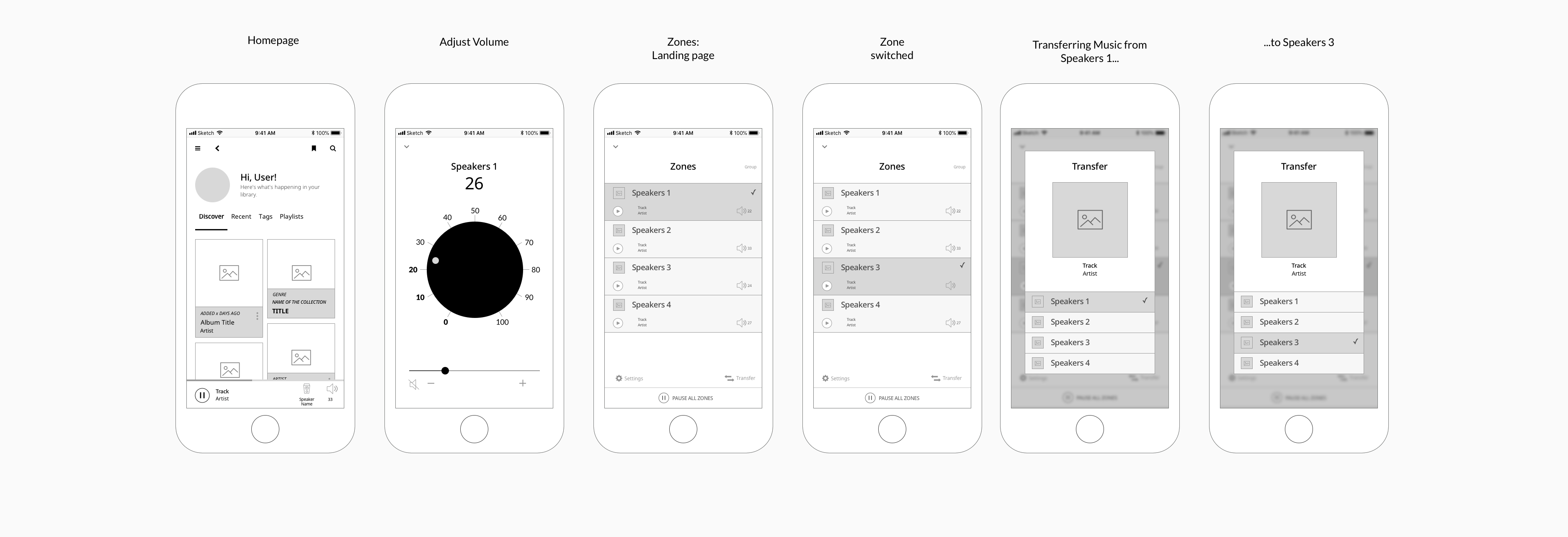 Wireframes of my final prototypes