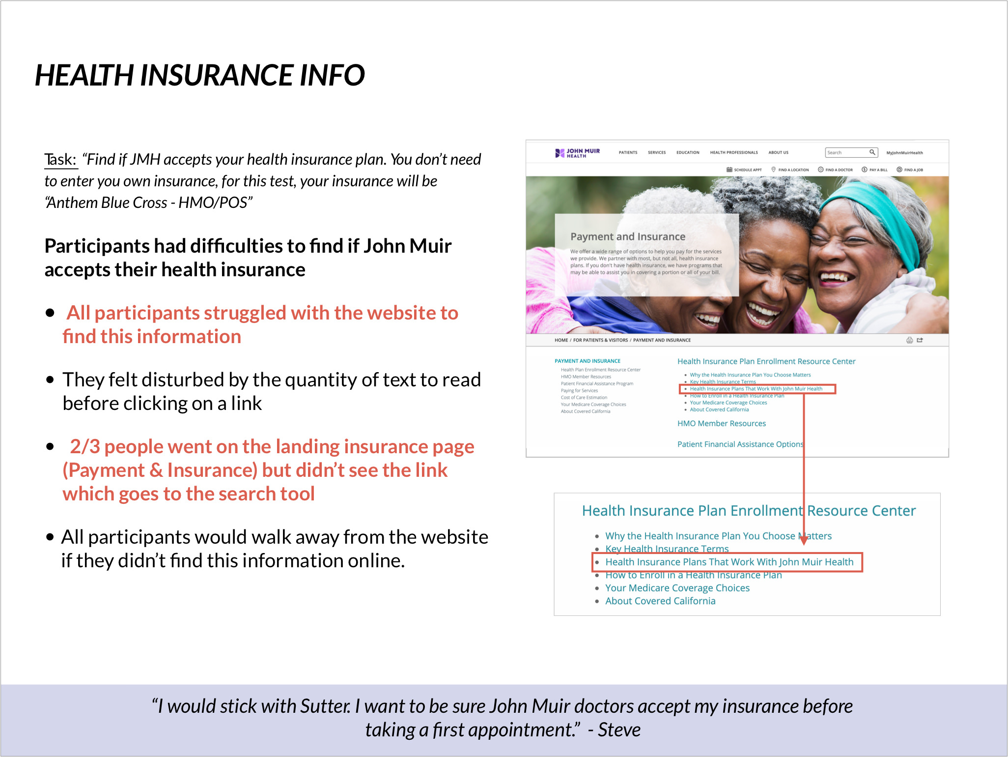 Health insurance issue: participant struggled to find if their health plan was accepted by John Muir Hospital