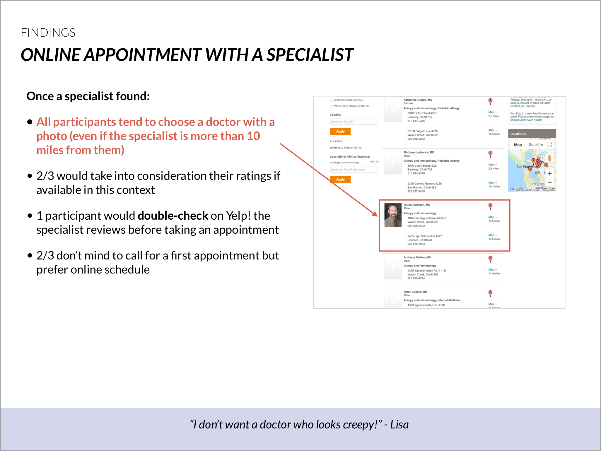 Online scheduling: all participants choose a doctor with a profile photo